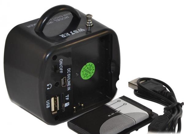 Компактная Стерео-колонка портативная UPS-575, с автономным питанием и съёмным аккумулятором. Удобна для подключения планшета, ноутбука, мобильного телефона, MP4-плеера и пр.